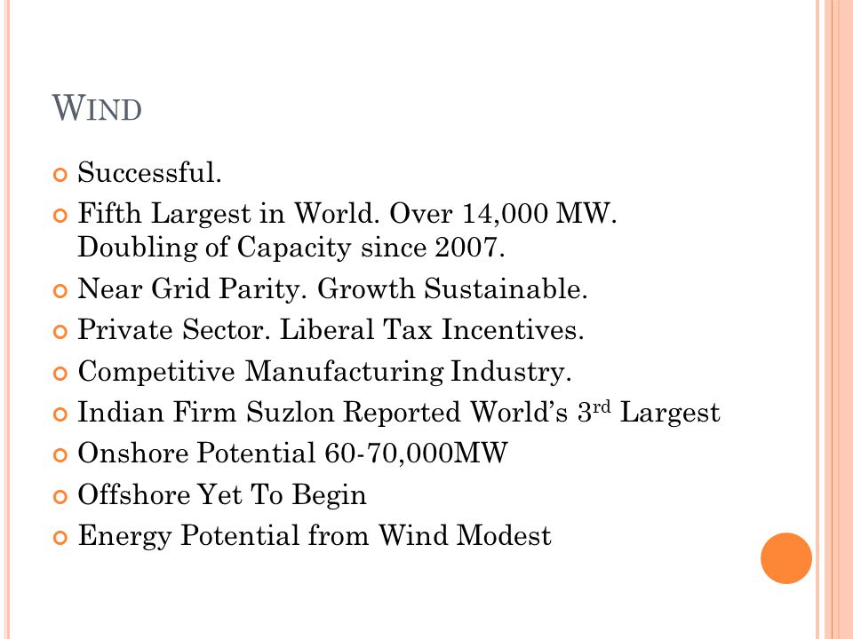 W IND Successful. Fifth Largest in World. Over 14,000 MW.