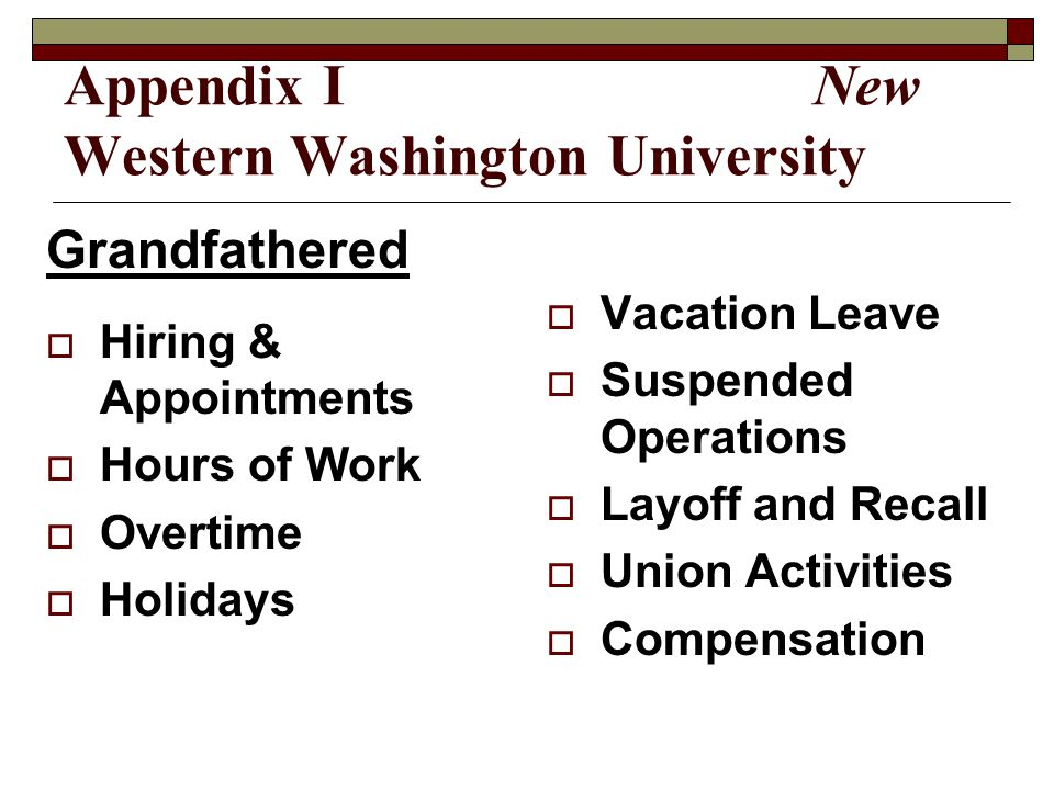 Appendix I New Western Washington University Grandfathered  Hiring & Appointments  Hours of Work  Overtime  Holidays  Vacation Leave  Suspended Operations  Layoff and Recall  Union Activities  Compensation