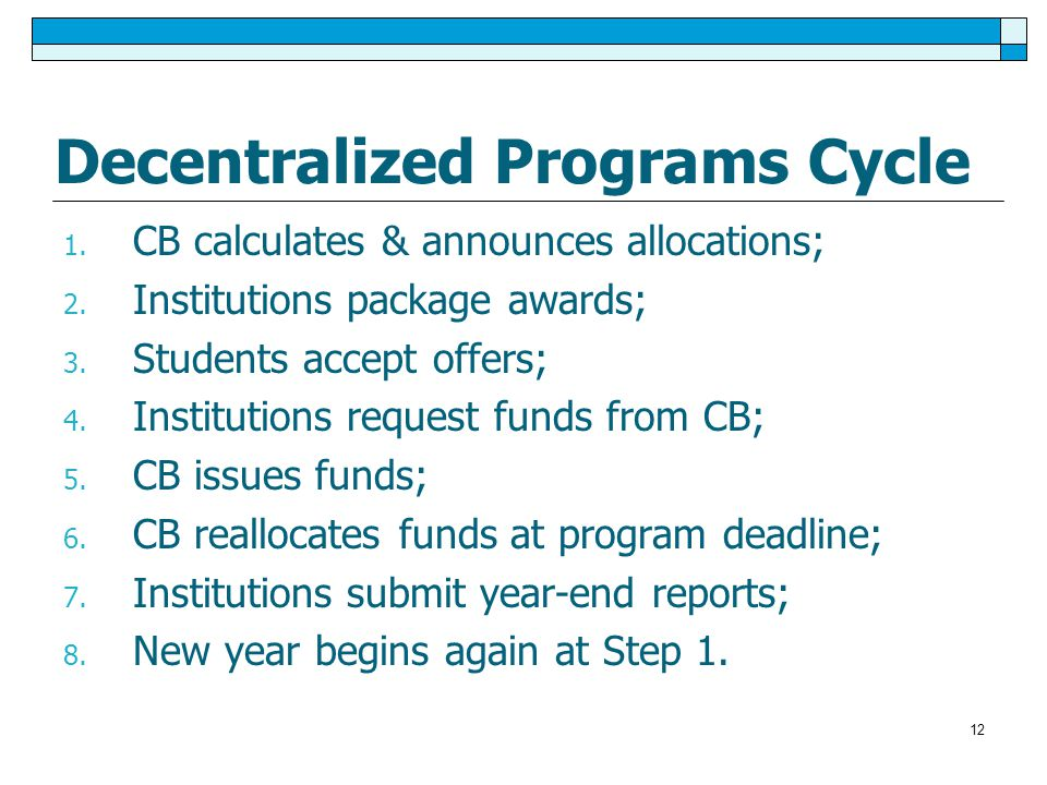 12 Decentralized Programs Cycle 1. CB calculates & announces allocations; 2.