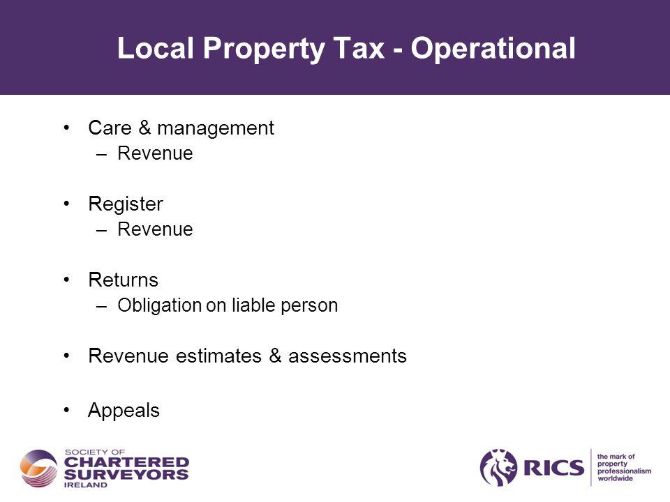 Local Property Tax - Operational Care & management –Revenue Register –Revenue Returns –Obligation on liable person Revenue estimates & assessments Appeals