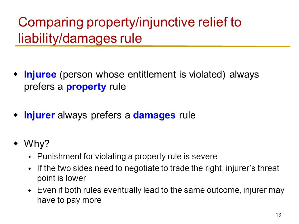 13  Injuree (person whose entitlement is violated) always prefers a property rule  Injurer always prefers a damages rule  Why.