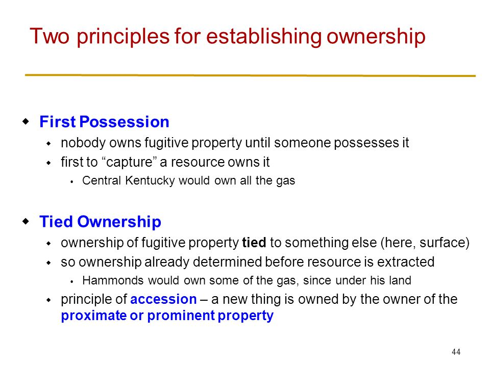 44  First Possession  nobody owns fugitive property until someone possesses it  first to capture a resource owns it  Central Kentucky would own all the gas  Tied Ownership  ownership of fugitive property tied to something else (here, surface)  so ownership already determined before resource is extracted  Hammonds would own some of the gas, since under his land  principle of accession – a new thing is owned by the owner of the proximate or prominent property Two principles for establishing ownership