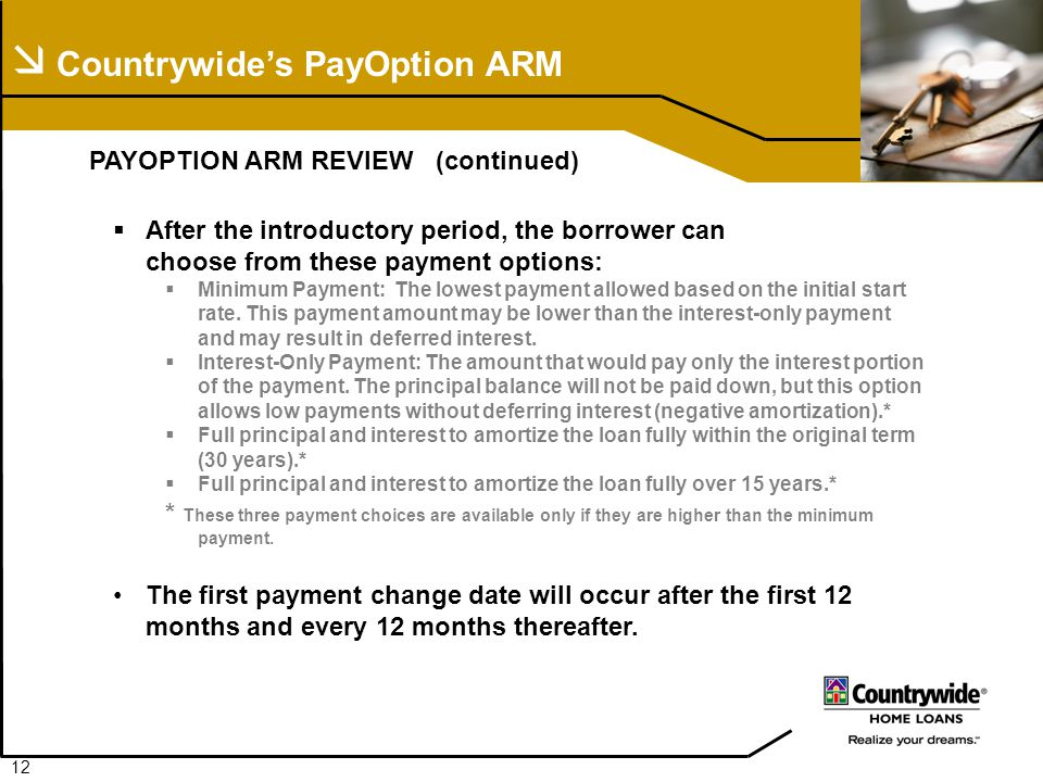  Countrywide's PayOption ARM PAYOPTION ARM REVIEW (continued)  After the introductory period, the borrower can choose from these payment options:  Minimum Payment: The lowest payment allowed based on the initial start rate.