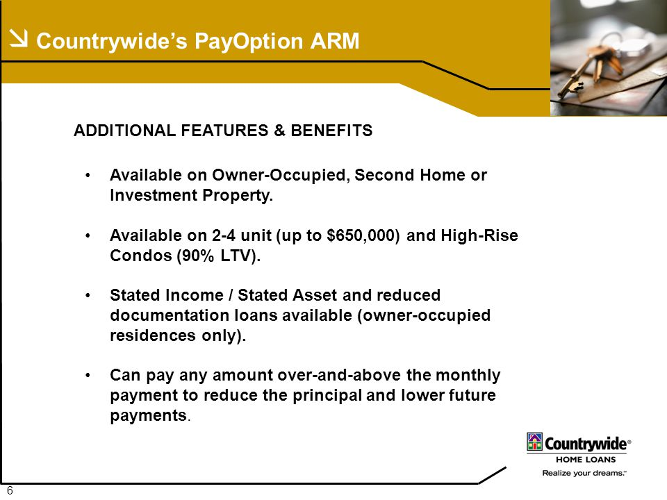  Countrywide's PayOption ARM ADDITIONAL FEATURES & BENEFITS Available on Owner-Occupied, Second Home or Investment Property.