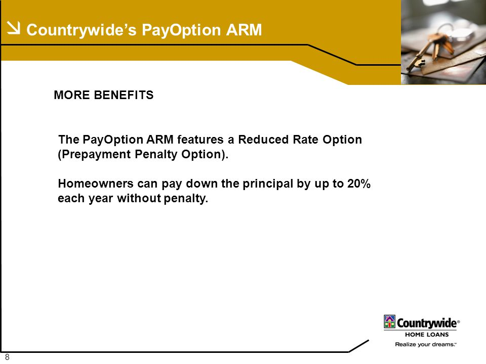  Countrywide's PayOption ARM MORE BENEFITS The PayOption ARM features a Reduced Rate Option (Prepayment Penalty Option).