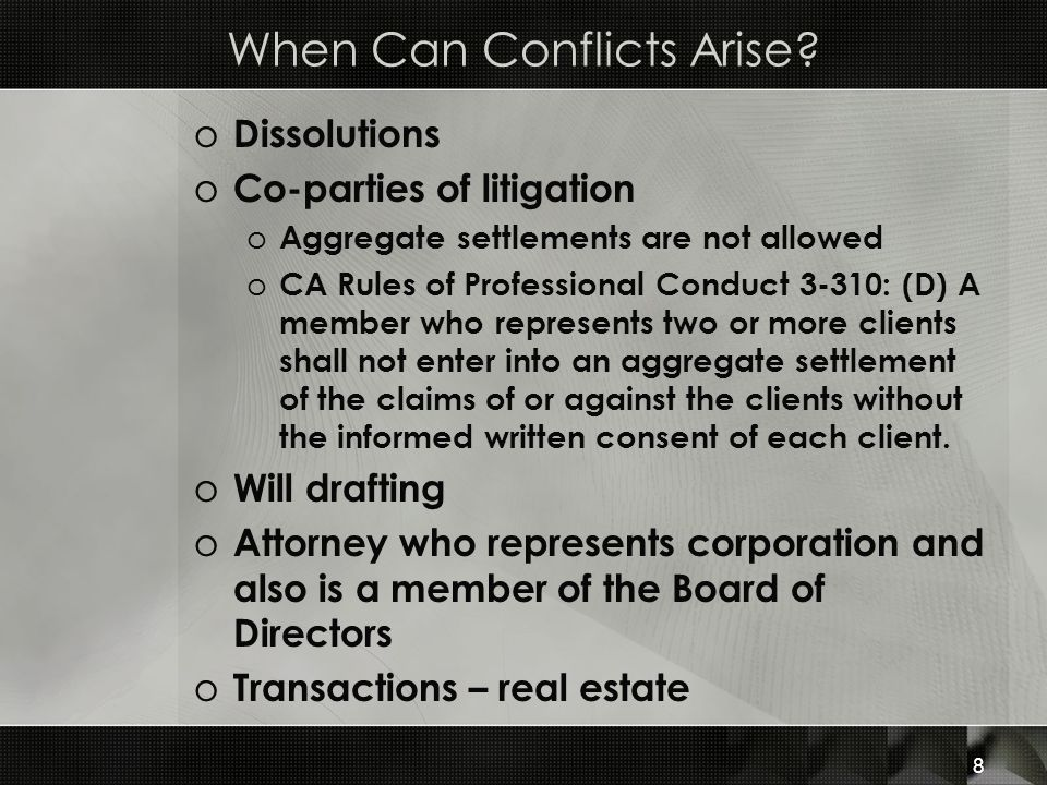 Imputed Conflicts o Disqualification of one attorney in a firm may cause the entire firm to be disqualified from representing a client o Screens (Chinese Wall) o Isolates the disqualified attorney or paralegal with office procedures to prevent the disqualified person from having access to information and communicating with anyone in the firm about the case o Includes: (1)Communication to all members of the firm informing them of the conflict; (2) Indicate on files and documents limitations on access; (3) Computer warnings or blocks to prevent screened employee's access to electronic files 19