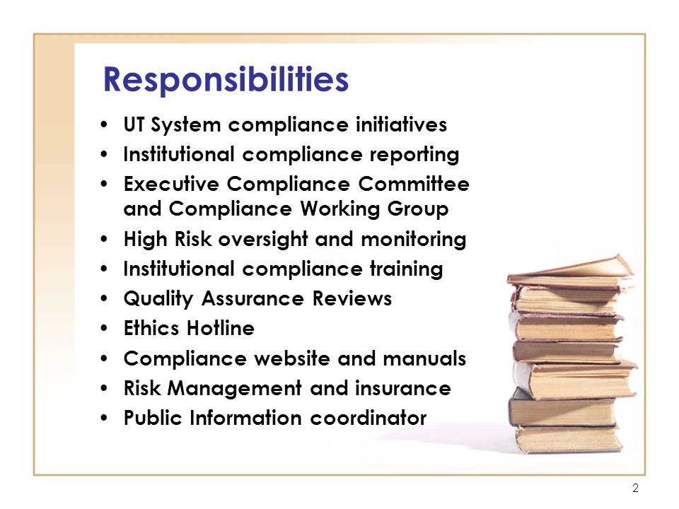 13 Additional Resources Compliance: http://www.uttyler.edu/compliance/ http://www.uttyler.edu/compliance/ Risk Management: http://www.uttyler.edu/compliance/ risk-management.php http://www.uttyler.edu/compliance/ risk-management.php University policies: http://www.uttyler.edu/facultystaff/ http://www.uttyler.edu/facultystaff/