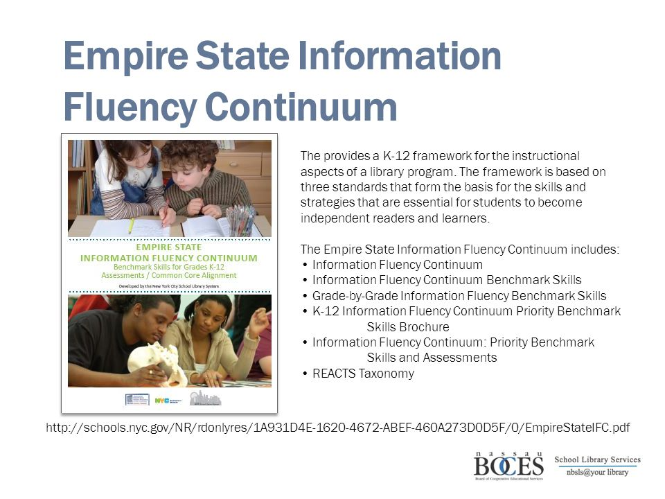 Empire State Information Fluency Continuum http://schools.nyc.gov/NR/rdonlyres/1A931D4E-1620-4672-ABEF-460A273D0D5F/0/EmpireStateIFC.pdf The provides a K-12 framework for the instructional aspects of a library program.