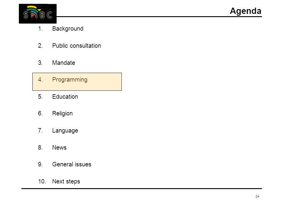 24 Agenda 1.Background 2.Public consultation 3.Mandate 4.Programming 5.Education 6.Religion 7.Language 8.News 9.General issues 10.Next steps