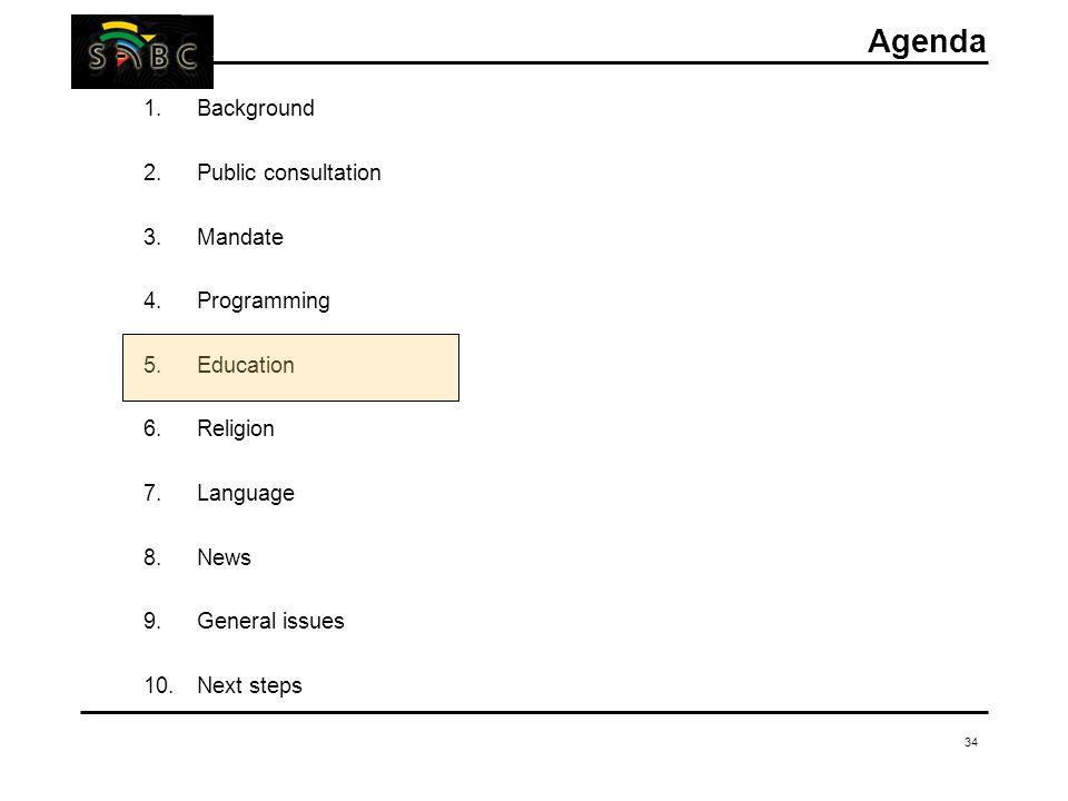 34 Agenda 1.Background 2.Public consultation 3.Mandate 4.Programming 5.Education 6.Religion 7.Language 8.News 9.General issues 10.Next steps