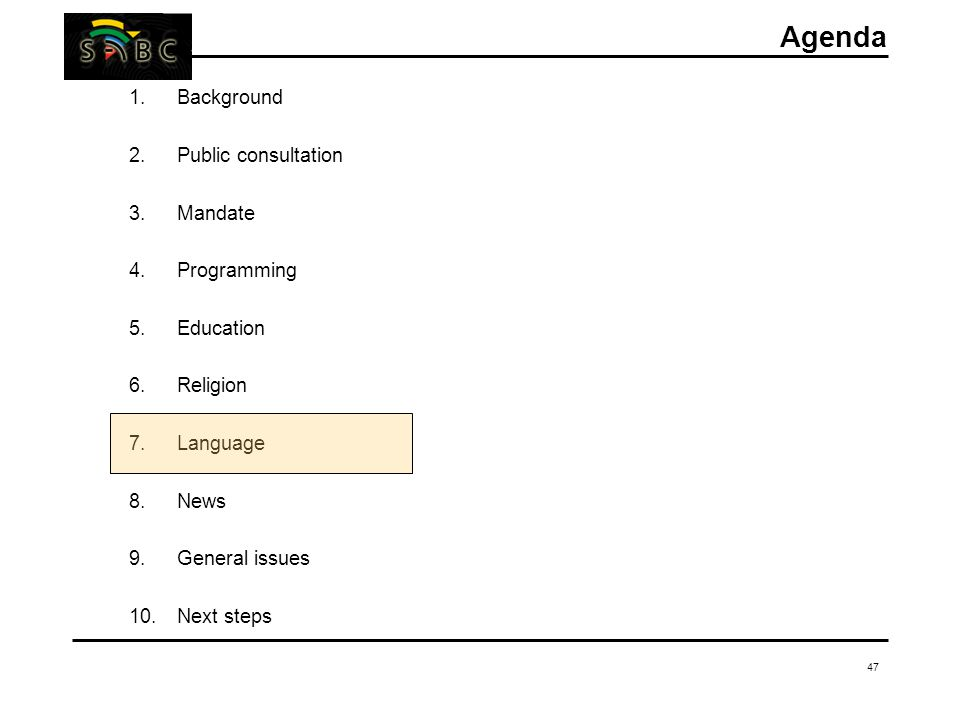 47 Agenda 1.Background 2.Public consultation 3.Mandate 4.Programming 5.Education 6.Religion 7.Language 8.News 9.General issues 10.Next steps