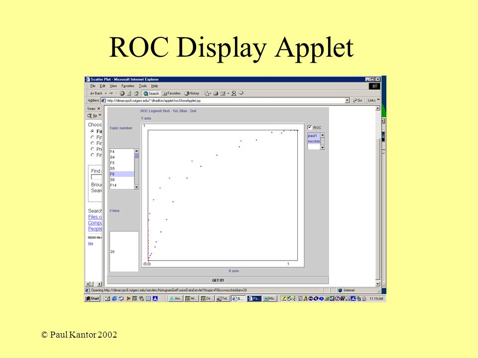 © Paul Kantor 2002 ROC Display Applet