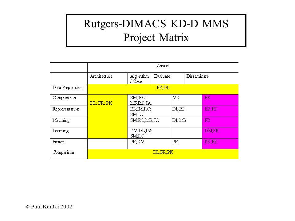 © Paul Kantor 2002 Rutgers-DIMACS KD-D MMS Project Matrix