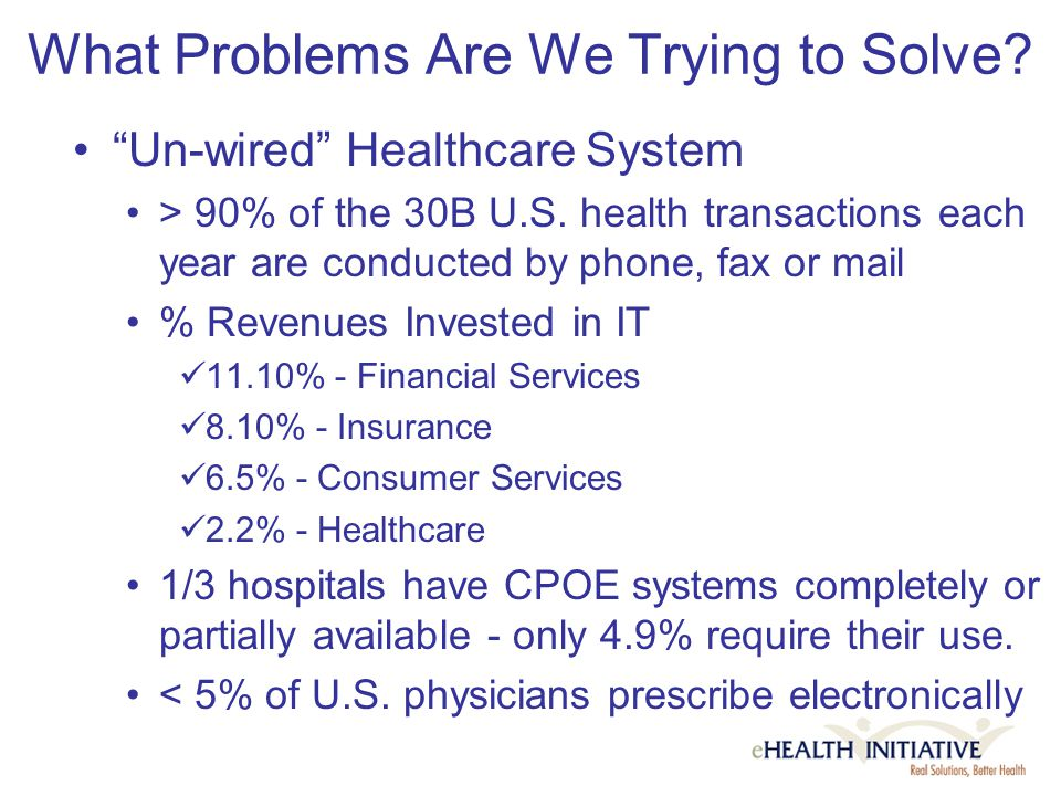 What Problems Are We Trying to Solve. Un-wired Healthcare System > 90% of the 30B U.S.