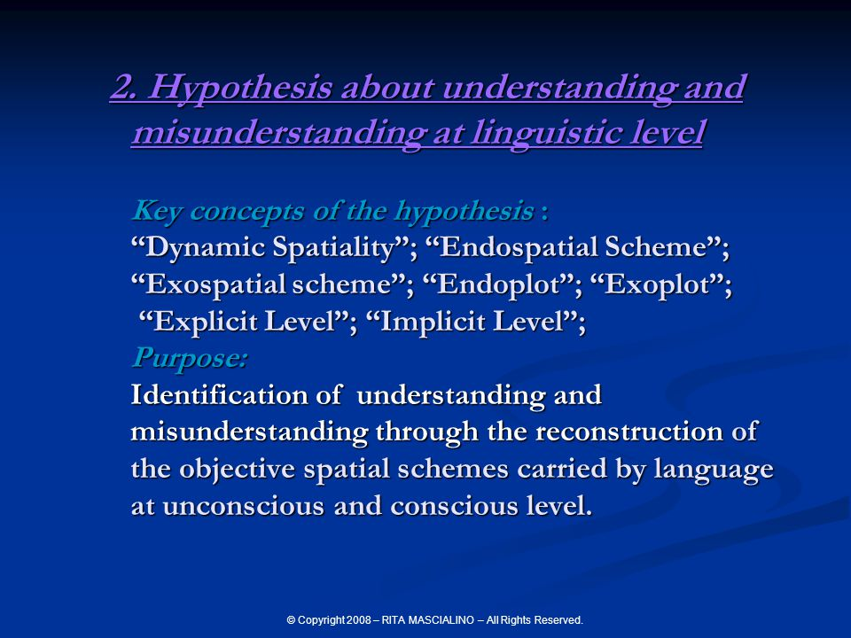© Copyright 2008 – RITA MASCIALINO – All Rights Reserved. 2. Hypothesis about understanding and misunderstanding at linguistic level Key concepts of t