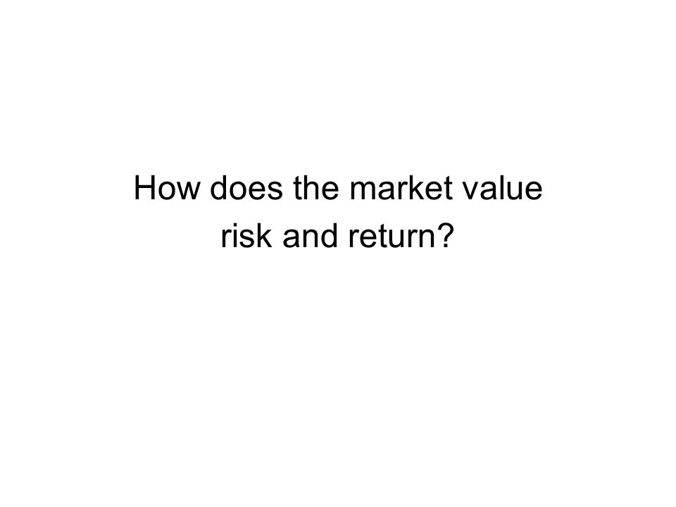 How does the market value risk and return?