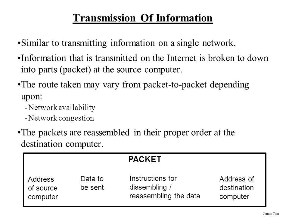 James Tam Transmission Of Information Similar to transmitting information on a single network.