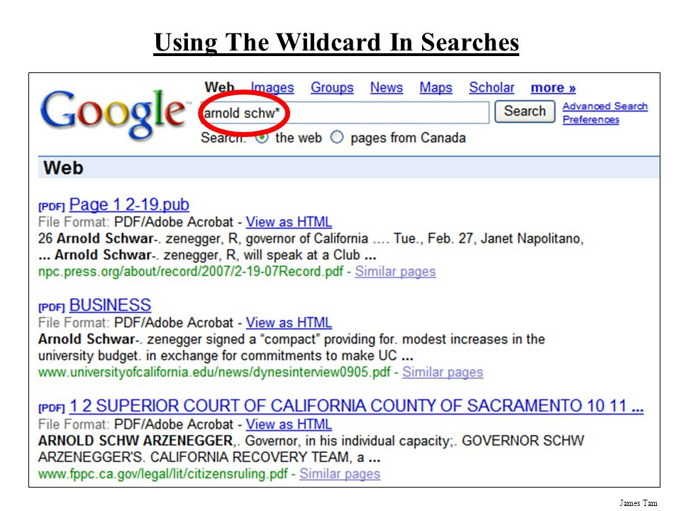 James Tam Using The Wildcard In Searches
