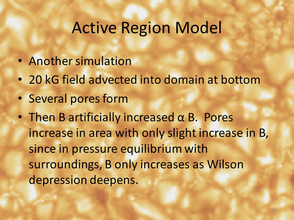 Active Region Model Another simulation 20 kG field advected into domain at bottom Several pores form Then B artificially increased α B. Pores increase