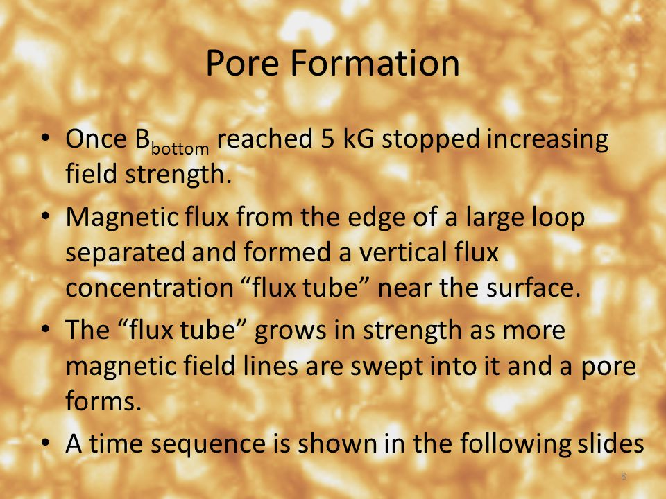 Pore Formation Once B bottom reached 5 kG stopped increasing field strength. Magnetic flux from the edge of a large loop separated and formed a vertic