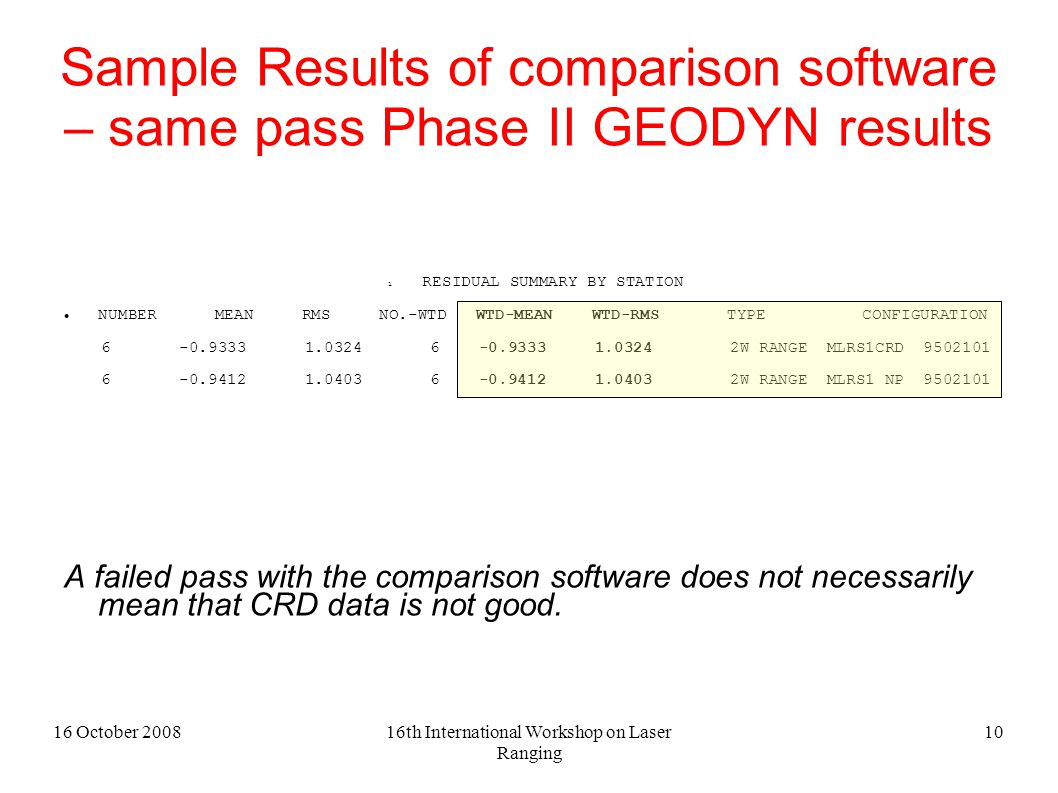 16 October 200816th International Workshop on Laser Ranging 10 Sample Results of comparison software – same pass Phase II GEODYN results 1 RESIDUAL SUMMARY BY STATION NUMBER MEAN RMS NO.-WTD WTD-MEAN WTD-RMS TYPE CONFIGURATION 6 -0.9333 1.0324 6 -0.9333 1.0324 2W RANGE MLRS1CRD 9502101 6 -0.9412 1.0403 6 -0.9412 1.0403 2W RANGE MLRS1 NP 9502101 A failed pass with the comparison software does not necessarily mean that CRD data is not good.