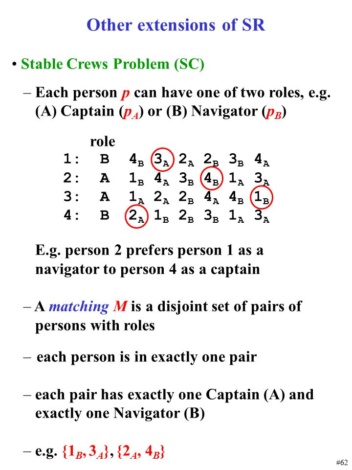 #62 Other extensions of SR Stable Crews Problem (SC) – Each person p can have one of two roles, e.g. (A) Captain (p A ) or (B) Navigator (p B ) role 1