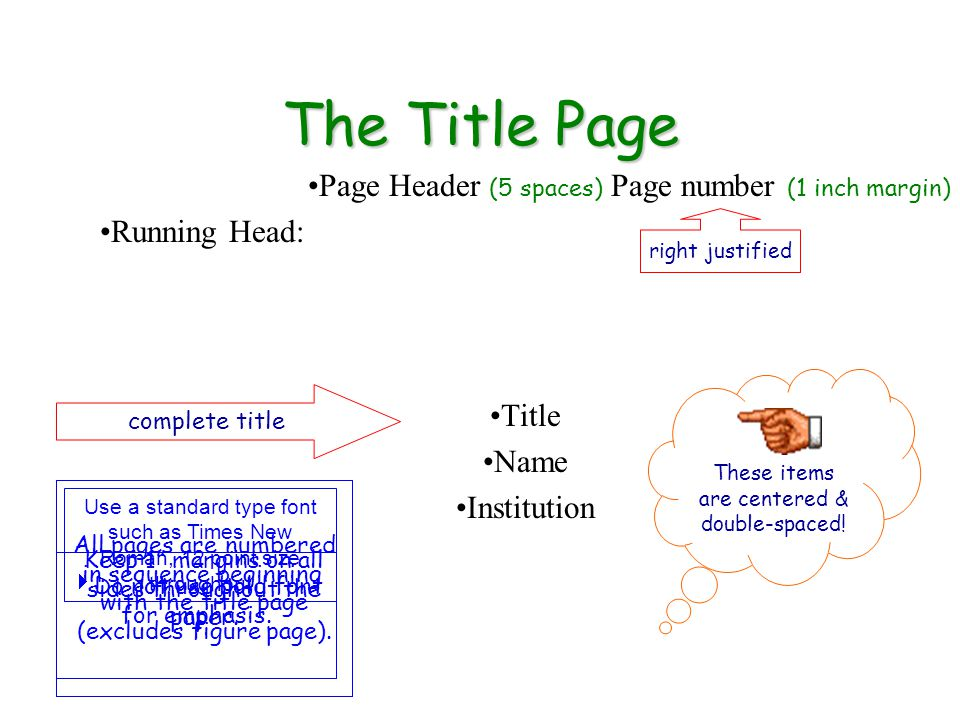 The Title Page Page Header (5 spaces) Page number (1 inch margin) Running Head: Title Name Institution These items are centered & double-spaced.