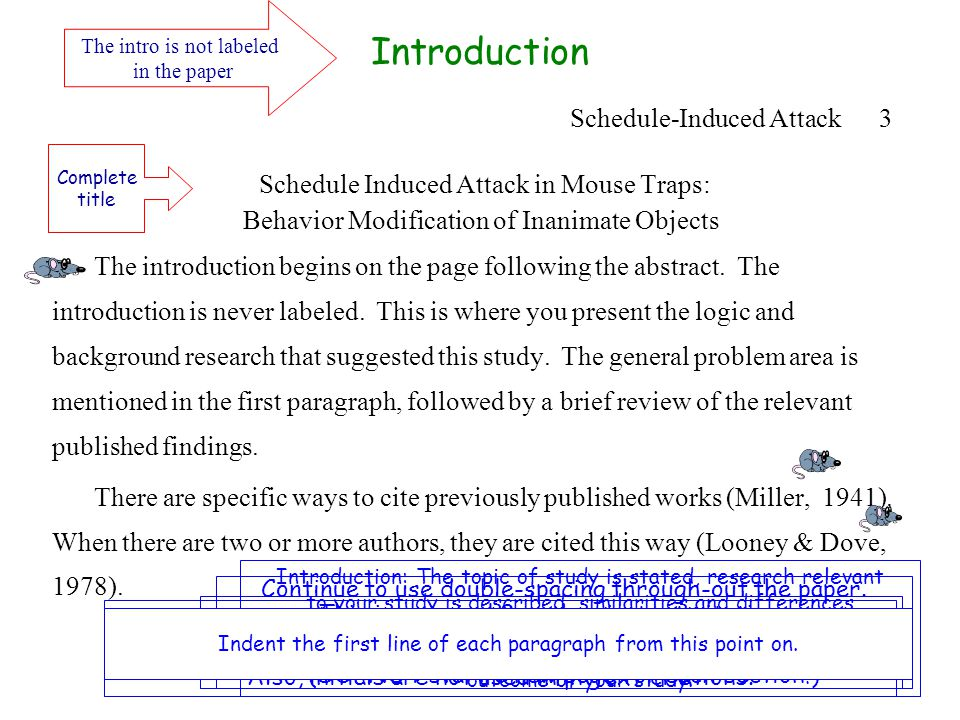 Schedule Induced Attack in Mouse Traps: Behavior Modification of Inanimate Objects The introduction begins on the page following the abstract.
