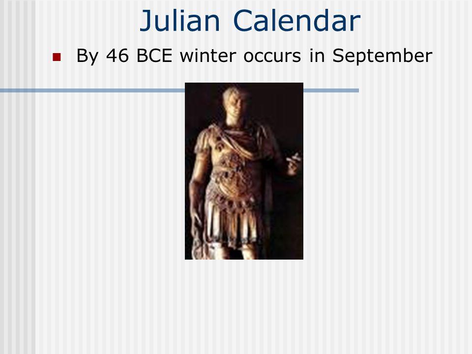 Julian Calendar By 46 BCE winter occurs in September
