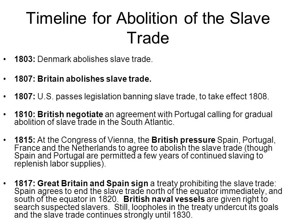 Timeline for Abolition of the Slave Trade 1803: Denmark abolishes slave trade.