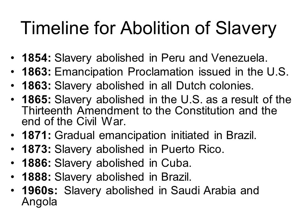 Timeline for Abolition of Slavery 1854: Slavery abolished in Peru and Venezuela.