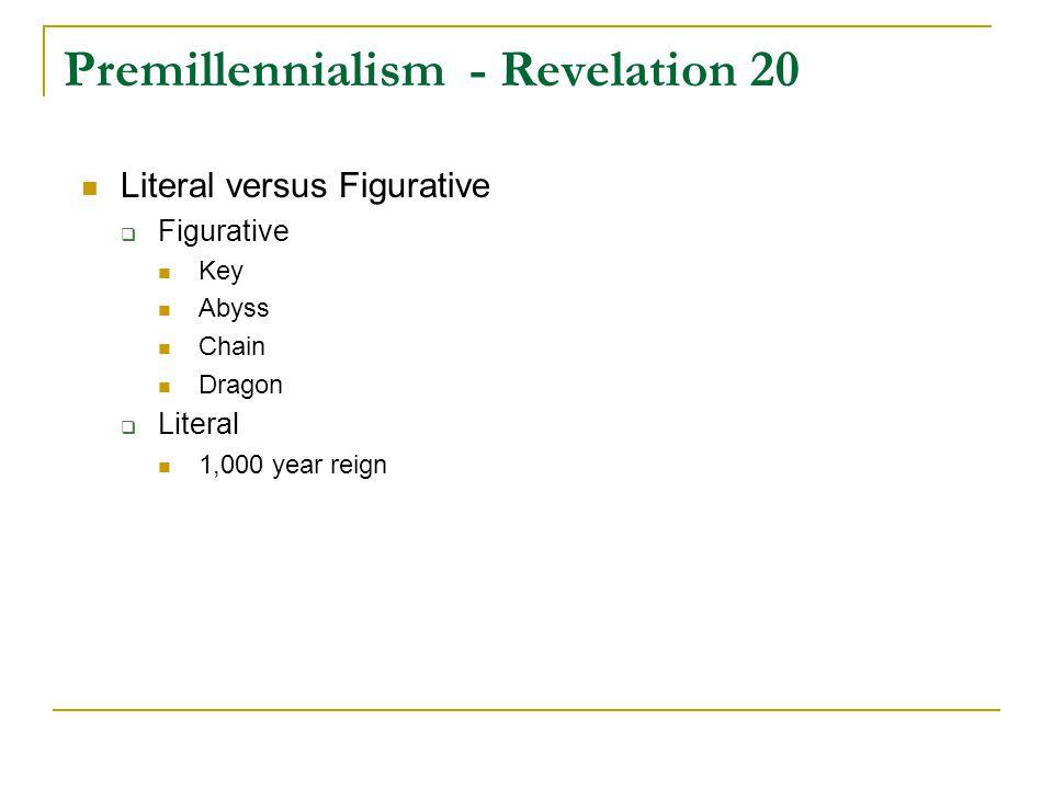 Premillennialism - Revelation 20 Literal versus Figurative  Figurative Key Abyss Chain Dragon  Literal 1,000 year reign