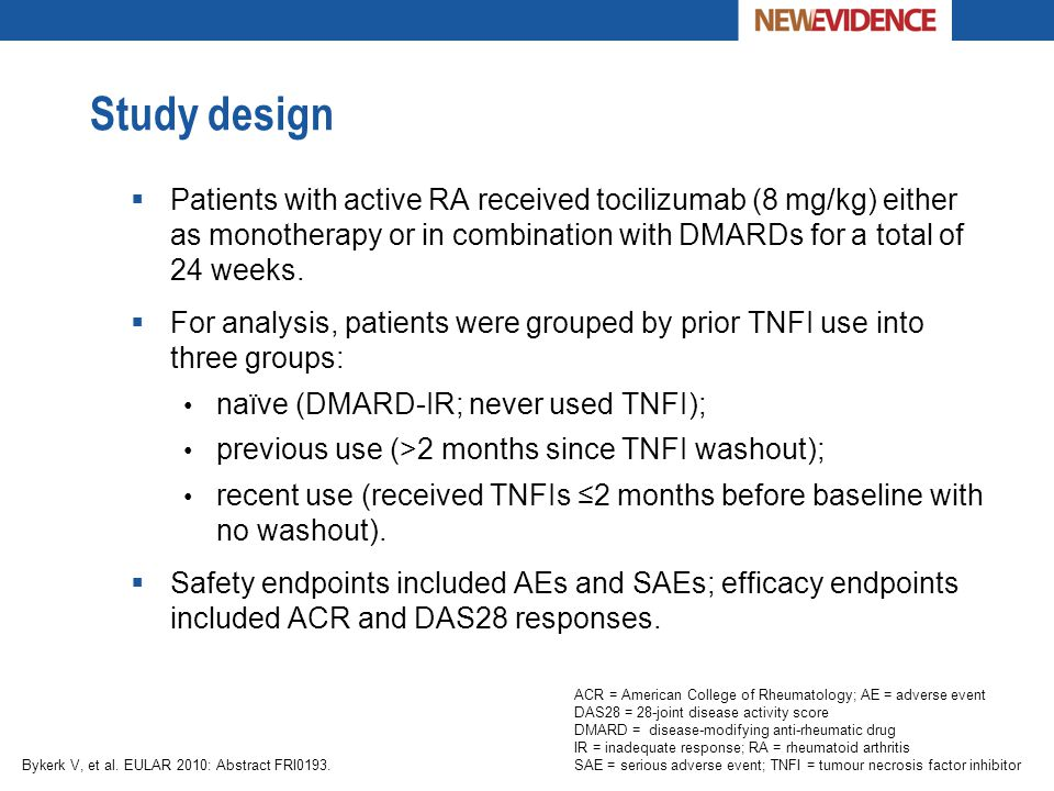 Study design  Patients with active RA received tocilizumab (8 mg/kg) either as monotherapy or in combination with DMARDs for a total of 24 weeks.  F