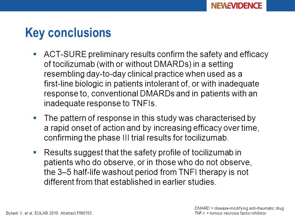 Key conclusions  ACT-SURE preliminary results confirm the safety and efficacy of tocilizumab (with or without DMARDs) in a setting resembling day-to-