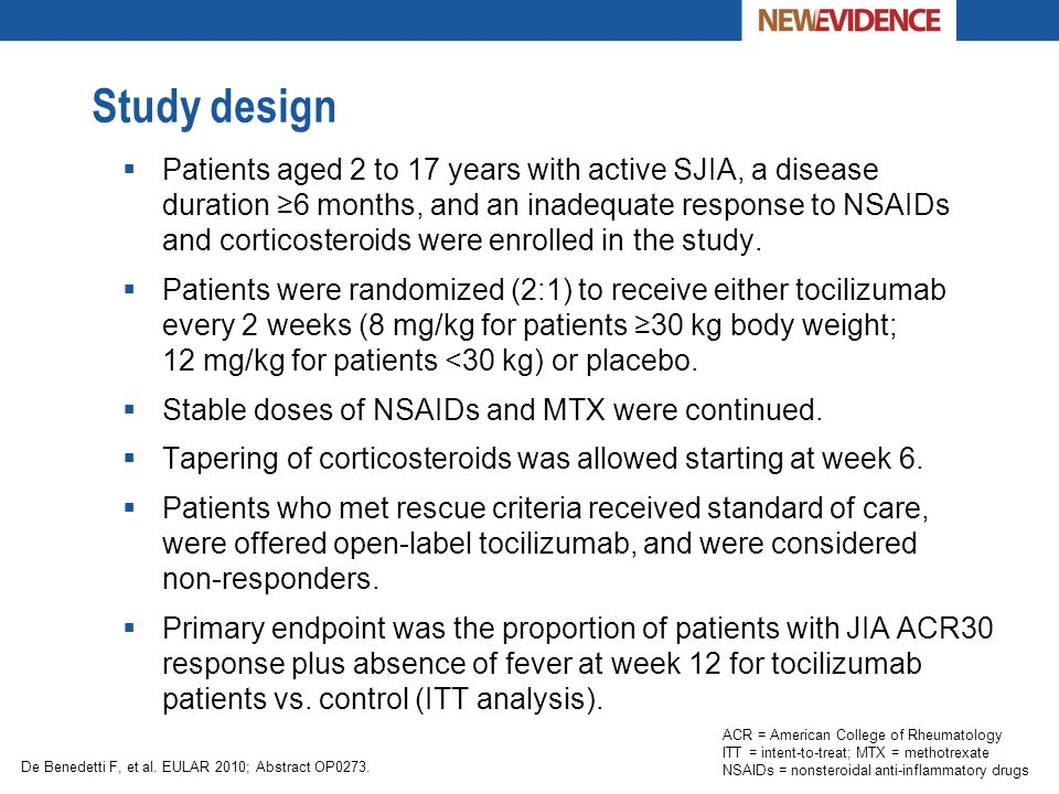 Study design  Patients aged 2 to 17 years with active SJIA, a disease duration ≥6 months, and an inadequate response to NSAIDs and corticosteroids we