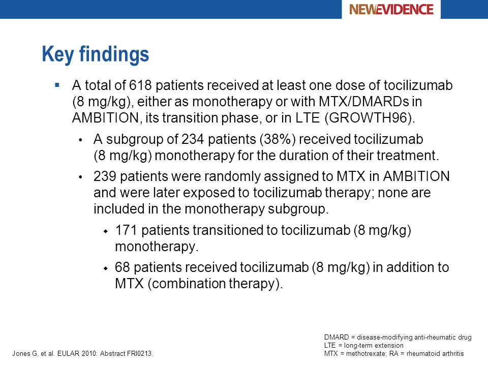 Key findings  A total of 618 patients received at least one dose of tocilizumab (8 mg/kg), either as monotherapy or with MTX/DMARDs in AMBITION, its