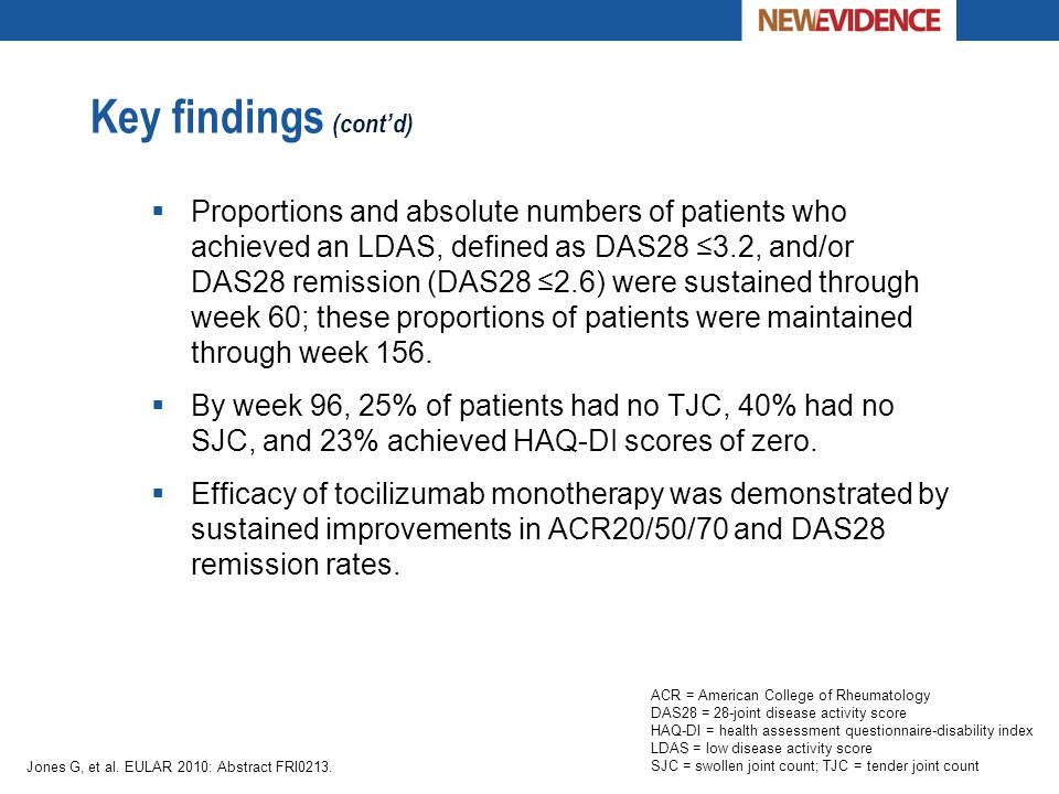Key findings (cont'd)  Proportions and absolute numbers of patients who achieved an LDAS, defined as DAS28 ≤3.2, and/or DAS28 remission (DAS28 ≤2.6)