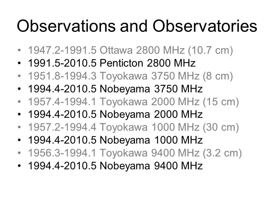 Observations and Observatories 1947.2-1991.5 Ottawa 2800 MHz (10.7 cm) 1991.5-2010.5 Penticton 2800 MHz 1951.8-1994.3 Toyokawa 3750 MHz (8 cm) 1994.4-