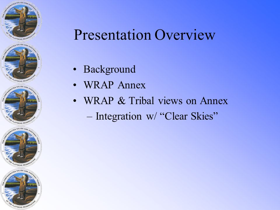 Presentation Overview Background WRAP Annex WRAP & Tribal views on Annex –Integration w/ Clear Skies