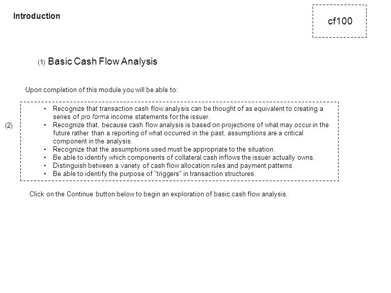 (1) Basic Cash Flow Analysis Recognize that transaction cash flow analysis can be thought of as equivalent to creating a series of pro forma income statements for the issuer.