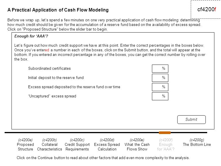 A Practical Application of Cash Flow Modeling cf4200f Enough for 'AAA'.