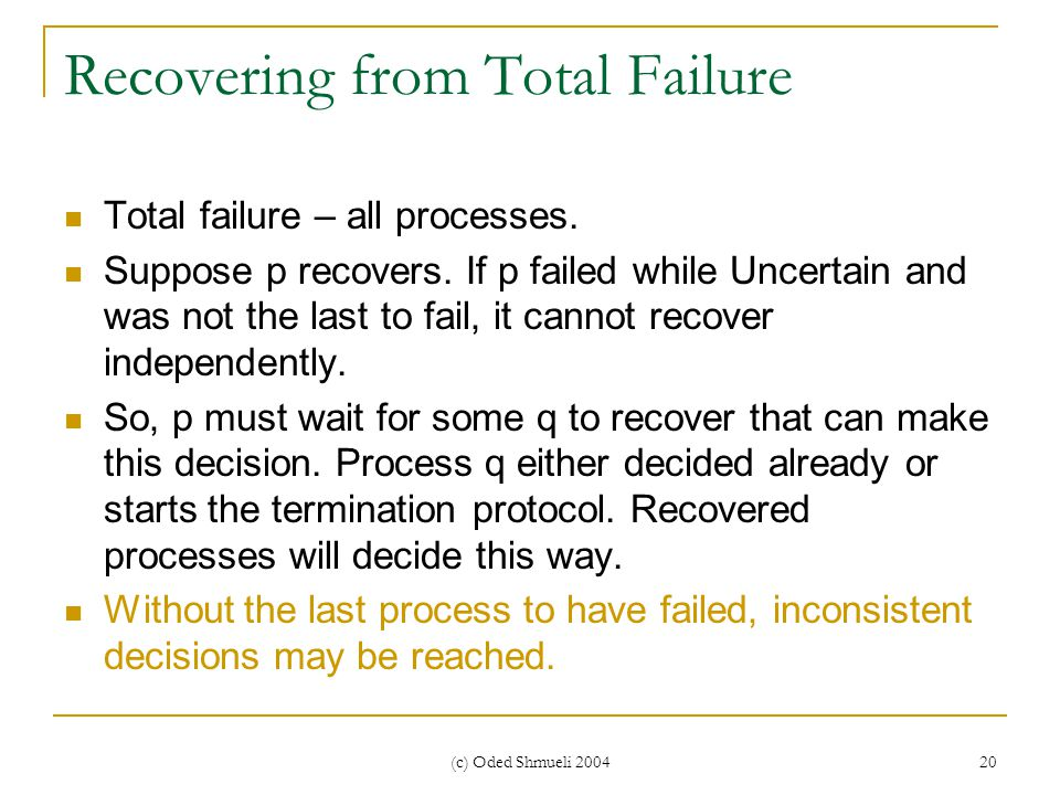 (c) Oded Shmueli 2004 20 Recovering from Total Failure Total failure – all processes.