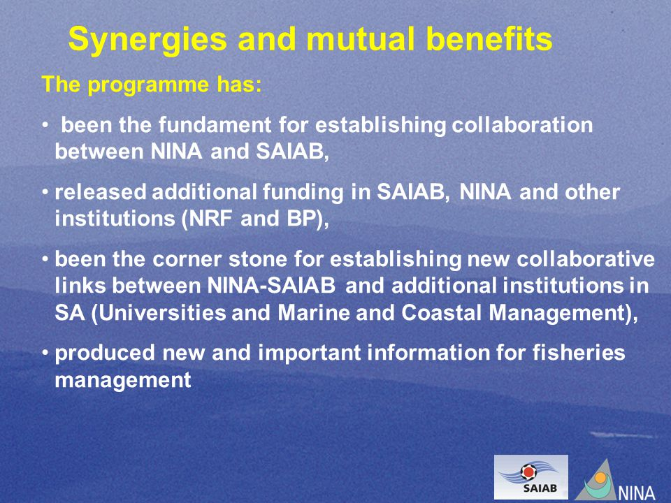 Synergies and mutual benefits The programme has: been the fundament for establishing collaboration between NINA and SAIAB, released additional funding in SAIAB, NINA and other institutions (NRF and BP), been the corner stone for establishing new collaborative links between NINA-SAIAB and additional institutions in SA (Universities and Marine and Coastal Management), produced new and important information for fisheries management