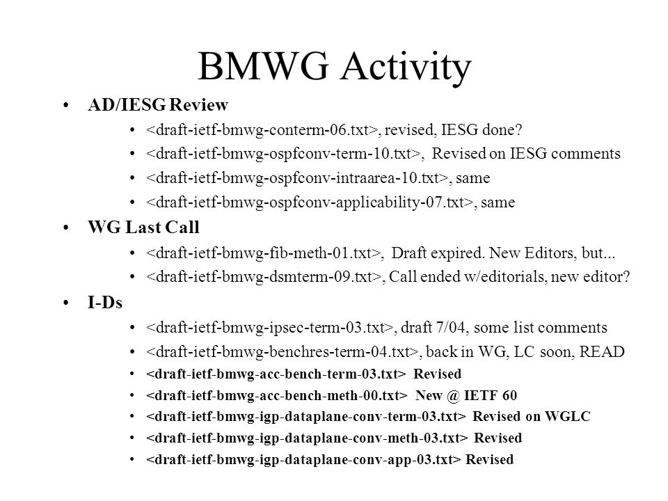 BMWG Activity AD/IESG Review, revised, IESG done?, Revised on IESG comments, same WG Last Call, Draft expired. New Editors, but..., Call ended w/edito