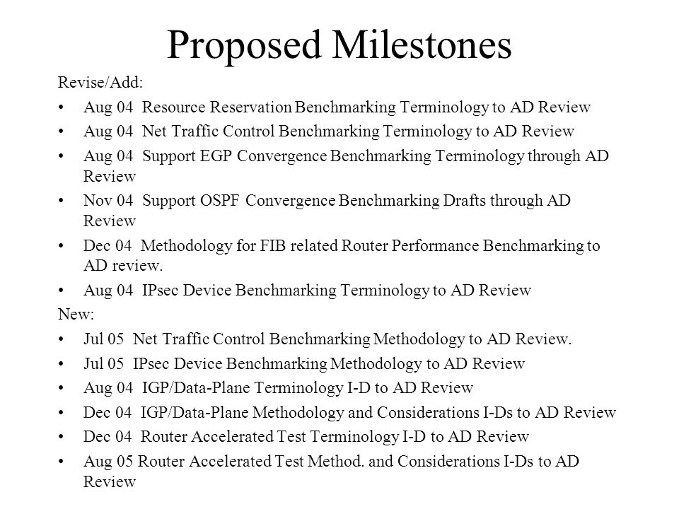 Proposed Milestones Revise/Add: Aug 04 Resource Reservation Benchmarking Terminology to AD Review Aug 04 Net Traffic Control Benchmarking Terminology to AD Review Aug 04 Support EGP Convergence Benchmarking Terminology through AD Review Nov 04 Support OSPF Convergence Benchmarking Drafts through AD Review Dec 04 Methodology for FIB related Router Performance Benchmarking to AD review.