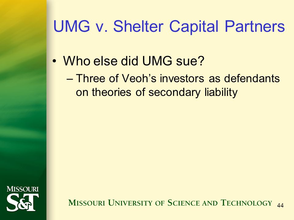 UMG v. Shelter Capital Partners Who else did UMG sue.