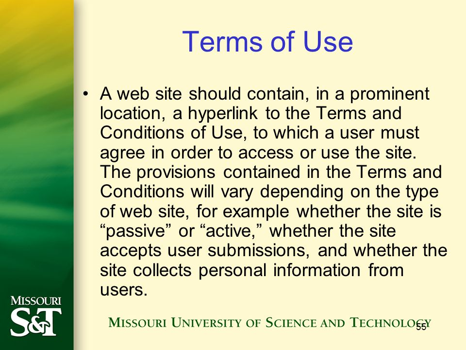 55 Terms of Use A web site should contain, in a prominent location, a hyperlink to the Terms and Conditions of Use, to which a user must agree in order to access or use the site.