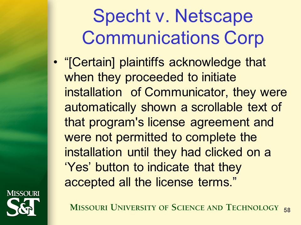 """Specht v. Netscape Communications Corp """"[Certain] plaintiffs acknowledge that when they proceeded to initiate installation of Communicator, they were"""