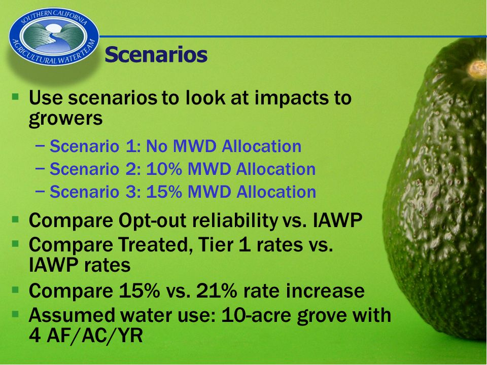  Use scenarios to look at impacts to growers −Scenario 1: No MWD Allocation −Scenario 2: 10% MWD Allocation −Scenario 3: 15% MWD Allocation  Compare Opt-out reliability vs.