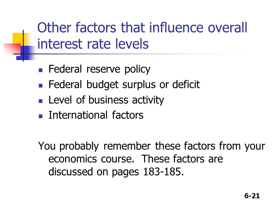 6-21 Other factors that influence overall interest rate levels Federal reserve policy Federal budget surplus or deficit Level of business activity International factors You probably remember these factors from your economics course.